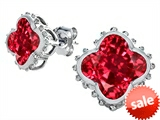 Original Star K™ Clover Earrings Studs with 8mm Clover Cut Created Ruby style: 306797