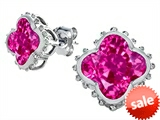 Original Star K™ Clover Earrings Studs with 8mm Clover Cut Created Pink Sapphire style: 306799