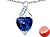 Original Star K™ 8mm Heart Shape Created Sapphire Ribbon Pendant