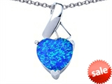 Original Star K™ 8mm Heart Shape Simulated Blue Opal Ribbon Pendant style: 306811