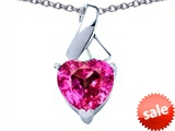 Original Star K™ 8mm Heart Shape Created Pink Sapphire Ribbon Pendant style: 306815