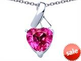 Original Star K™ 8mm Heart Shape Created Pink Sapphire Ribbon Pendant style: 306815
