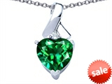 Original Star K™ 8mm Heart Shape Simulated Emerald Ribbon Pendant style: 306820