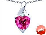 Original Star K™ 8mm Heart Shape Created Pink Sapphire Ribbon Pendant