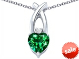 Original Star K™ 8mm Heart Shape Simulated Emerald Cross Heart Pendant