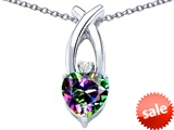 Original Star K™ 8mm Heart Shape Rainbow Mystic Topaz Cross Heart Pendant