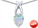 Original Star K™ 8mm Heart Shape Created Opal Cross Heart Pendant style: 306830