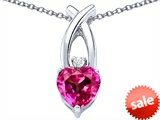 Original Star K™ 8mm Heart Shape Created Pink Sapphire Cross Heart Pendant