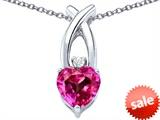 Original Star K™ 8mm Heart Shape Created Pink Sapphire Cross Heart Pendant style: 306831