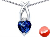 Original Star K™ 8mm Heart Shape Created Sapphire Cross Heart Pendant