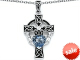 Celtic Love by Kelly™ Claddagh Cross pendant with 7mm Heart Shape Simulated Aquamarine