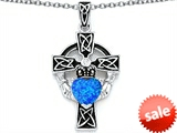 Celtic Love by Kelly™ Claddagh Cross pendant with 7mm Heart Shape Created Blue Opal style: 306836