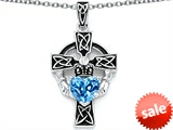 Celtic Love by Kelly™ Claddagh Cross pendant with 7mm Heart Shape Genuine Blue Topaz