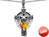 Celtic Love by Kelly™ Claddagh Cross pendant with 7mm Heart Shape Genuine Citrine