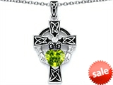 Celtic Love by Kelly™ Claddagh Cross pendant with 7mm Heart Shape Genuine Peridot
