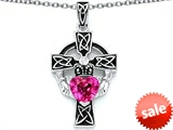 Celtic Love by Kelly™ Claddagh Cross pendant with 7mm Heart Shape Created Pink Sapphire