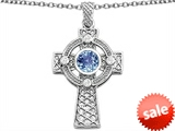 Celtic Love by Kelly™ Celtic Cross pendant with 7mm Round Simulated Aquamarine