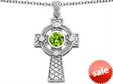 Celtic Love by Kelly™ Celtic Cross pendant with 7mm Round Genuine Peridot style: 306849