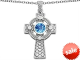 Celtic Love by Kelly™ Celtic Cross pendant with 7mm Round Genuine Blue Topaz style: 306850