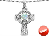 Celtic Love by Kelly™ Celtic Cross pendant with 7mm Round Created Opal