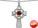 Celtic Love by Kelly™ Celtic Cross pendant with 7mm Round Genuine Garnet style: 306854