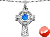 Celtic Love by Kelly™ Celtic Cross pendant with 7mm Round Created Blue Opal