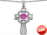 Celtic Love by Kelly™ Celtic Cross pendant with 7mm Round Created Pink Sapphire