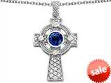 Celtic Love by Kelly™ Celtic Cross pendant with 7mm Round Created Sapphire