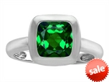 Original Star K™ 8mm Cushion Cut Solitaire Engagement Ring With Simulated Emerald style: 306860