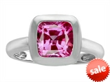Original Star K™ 8mm Cushion Cut Solitaire Engagement Ring With Created Pink Sapphire