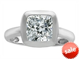 Original Star K™ 8mm Cushion Cut Solitaire Engagement Ring With Genuine White Topaz