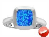 Original Star K™ 8mm Cushion Cut Solitaire Engagement Ring With Created Blue Opal