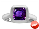 Original Star K™ 8mm Cushion Cut Solitaire Engagement Ring With Genuine Amethyst style: 306873