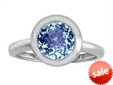 Original Star K™ 8mm Round Solitaire Engagement Ring With Simulated Aquamarine