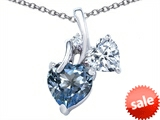 Original Star K™ 8mm Heart Shape Simulated Aquamarine Double Hearts Pendant style: 306888