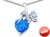 Original Star K™ 8mm Heart Shape Simulated Blue Opal Double Hearts Pendant style: 306889