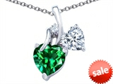 Original Star K™ 8mm Heart Shape Simulated Emerald Double Hearts Pendant style: 306890