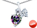Original Star K™ 8mm Heart Shape Mystic Topaz Double Hearts Pendant style: 306891