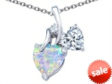 Original Star K™ 8mm Heart Shape Created Opal Double Hearts Pendant