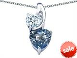 Original Star K™ 8mm Heart Shape Simulated Aquamarine Double Hearts Pendant style: 306896
