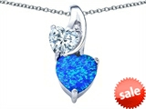 Original Star K™ 8mm Heart Shape Simulated Blue Opal Double Hearts Pendant style: 306897