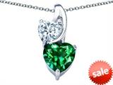 Original Star K™ 8mm Heart Shape Simulated Emerald Double Hearts Pendant style: 306898