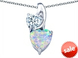 Original Star K™ 8mm Heart Shape Created Opal Double Hearts Pendant style: 306900