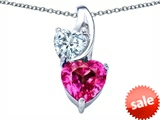 Original Star K™ 8mm Heart Shape Created Pink Sapphire Double Hearts Pendant style: 306901