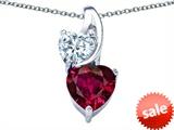 Original Star K™ 8mm Heart Shape Created Ruby Double Hearts Pendant style: 306902
