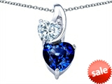 Original Star K™ 8mm Heart Shape Created Sapphire Double Hearts Pendant