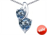 Original Star K™ 8mm Heart Shape Simulated Aquamarine Double Hearts Pendant
