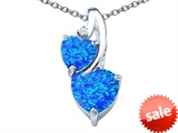 Original Star K™ 8mm Heart Shape Created Blue Opal Double Hearts Pendant style: 306905