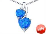 Original Star K™ 8mm Heart Shape Created Blue Opal Double Hearts Pendant style: 306905
