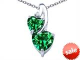 Original Star K™ 8mm Heart Shape Simulated Emerald Double Hearts Pendant style: 306906